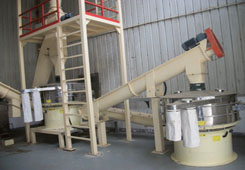 Vibrating sieve with screw feeder
